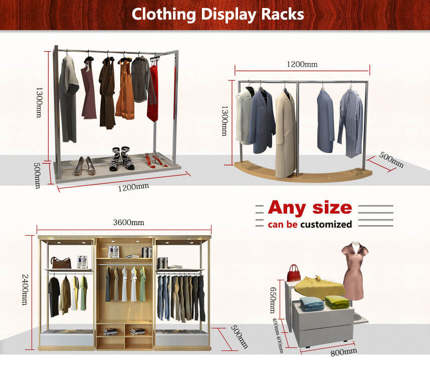 wall mounted clothing display racks size