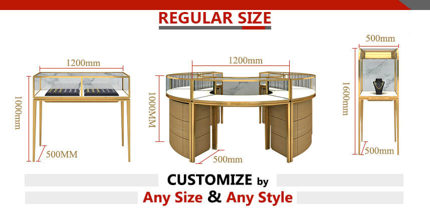 portable jewelry display cases size