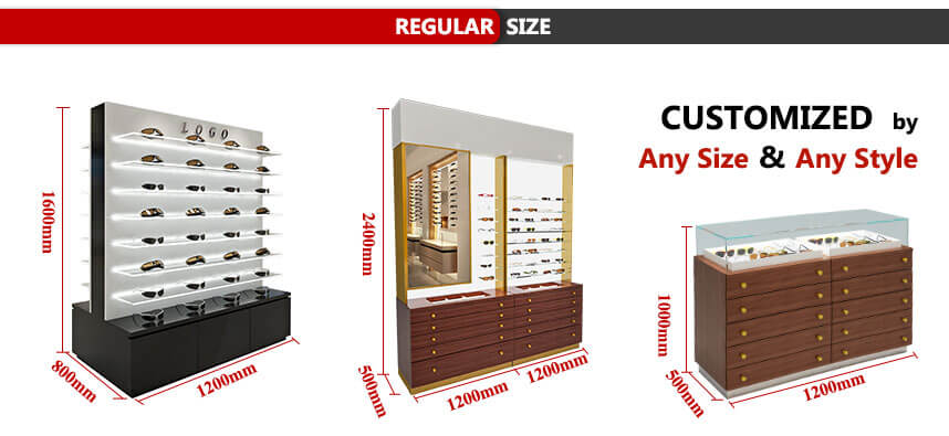 eyeglass display stands size