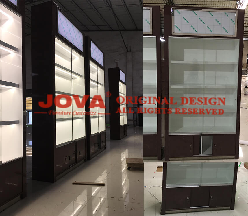 wall display case with glass doors
