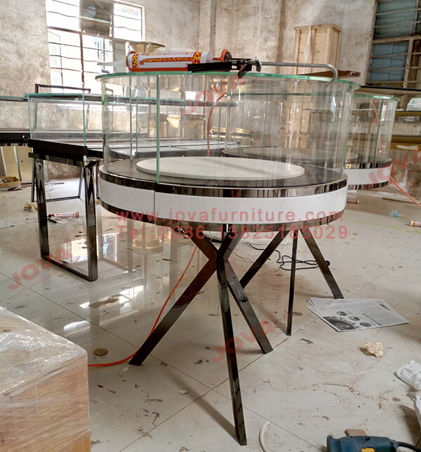 round jewellery display cabinets