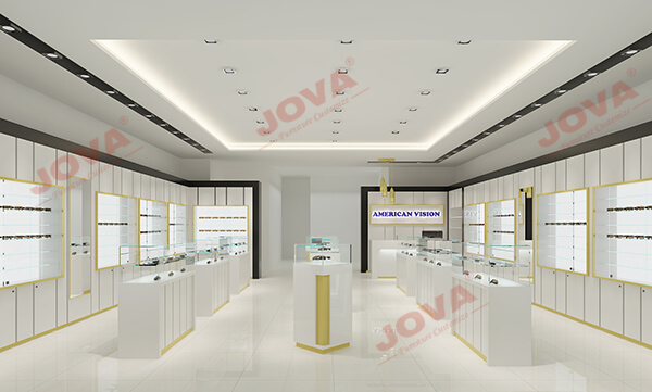 white optical shop design