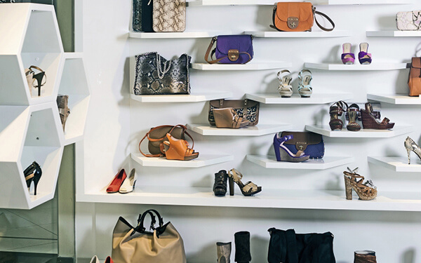 shoe displays wall unit