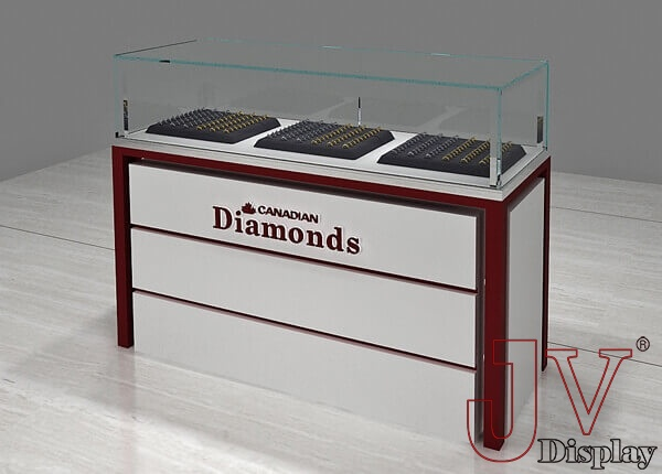 glass jewelry display case with lock