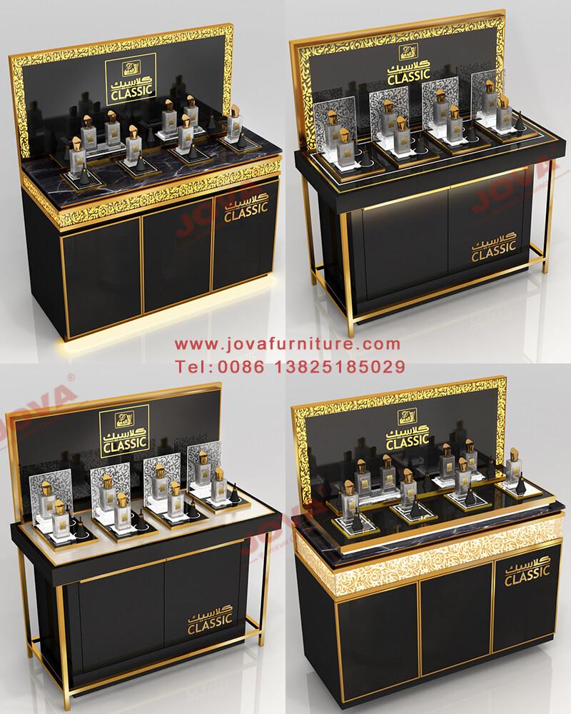 Black Perfume Counter Design Perfume Displays For Sale