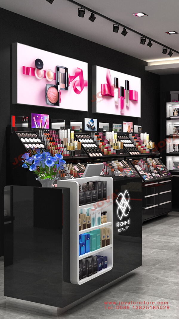 beauty shop counter and cosmetics stand