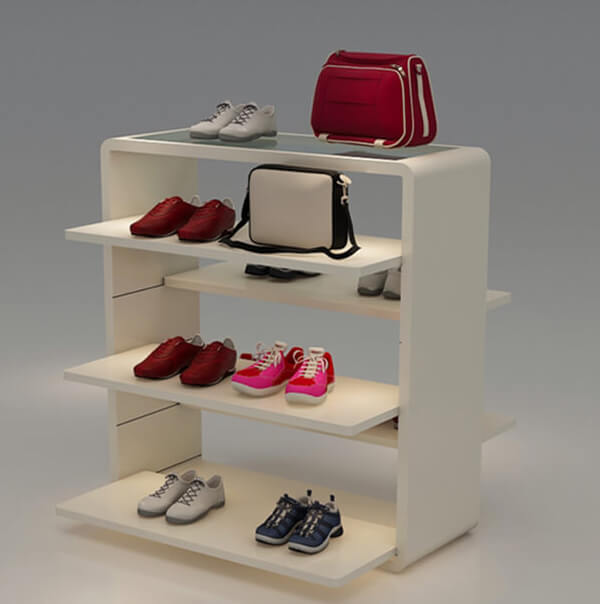 wooden shoe shop display rack