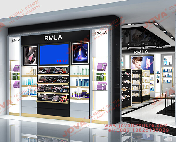 white cosmetic wall display