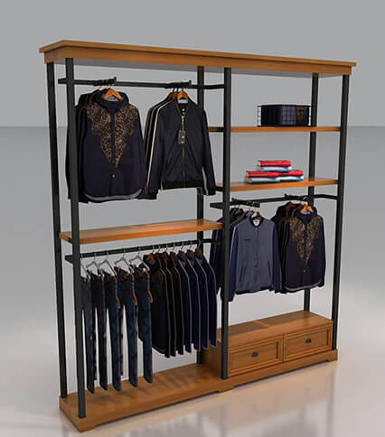 wall clothes rack with shelf for sale