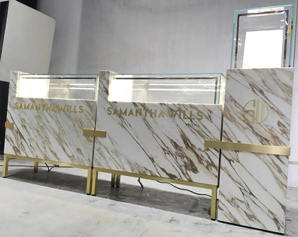 marble jewelry showcases