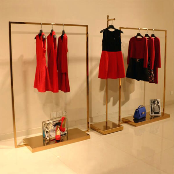 golden metal apparel display racks