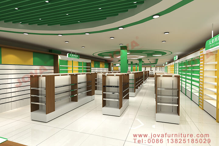 large pharmacy shop interior design