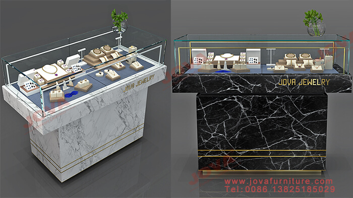 marble and glass jewelry showcases decor