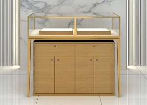 Stainless steel jewellery counters with storage cabinet