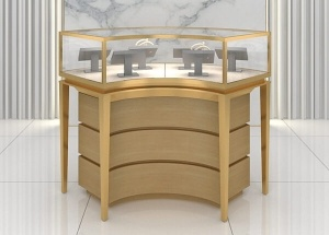Curved jewelry glass display cabinets with lights