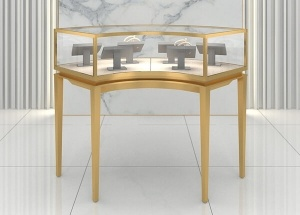 Curved glass showcase for jewellery shop design