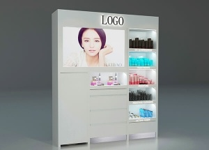 Custom white professional makeup furniture