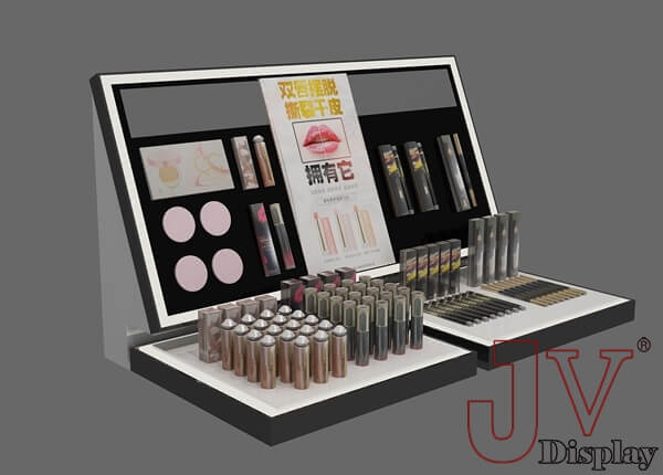Exhibition Stand Cosmetics : Acrylic makeup display stand black and white for sale