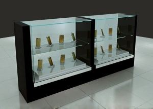 mobile shop counter design two layer glass