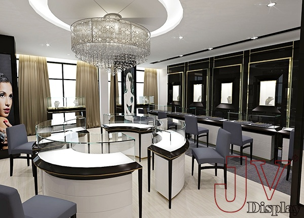 Gold Jewellery Showroom Interior Design White Modern For Sale Gold