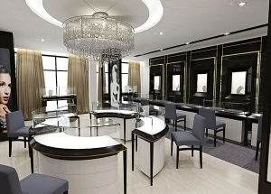 gold showroom interior design