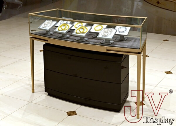 black jewelry display counter