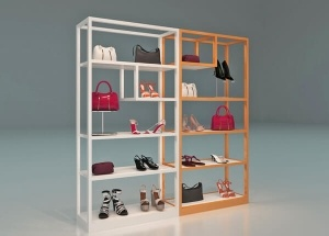 Shoe store rack wooden wall new design