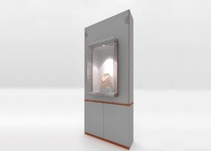 Jewelry store display showcases wooden wall grey