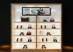 Retail shoe store display racks wall fashion female