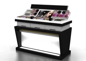 white black makeup counter