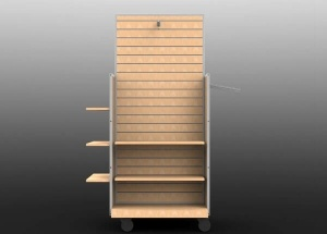 Clothing slatwall gondola shelving freestanding with shelves