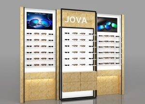 Eyeglass display case wall for shop interior design