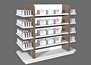 Wooden gondola rack shop for pharmacy cosmetic