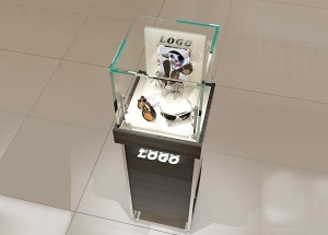 Square pedestal case display freestanding glass top