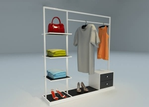 Corner wall shelf display for clothing store