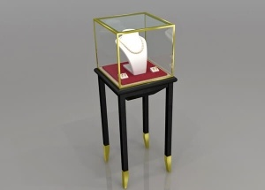 pedestal display case with glass top black