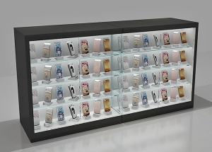 Full view showcase wooden 4 glass shelves