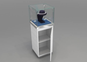 Pedestal display stand white jewelry case freestanding