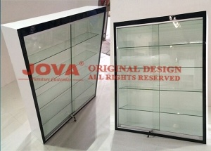 Glass display cabinet adjustable 5 shelves white wall mounted