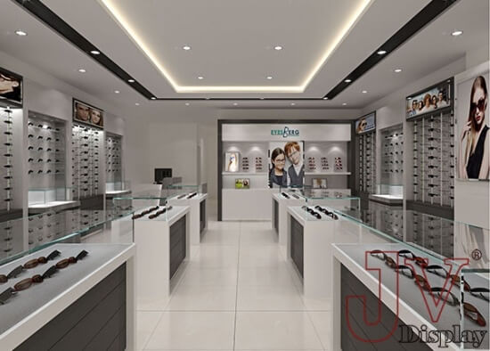 Frame displays for eyeglasses wall display with glass shelves for ...