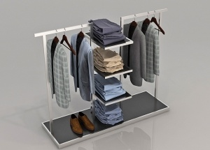 garment store display rack wooden metal clothing gondola