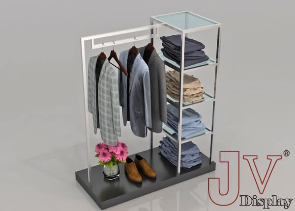 clothing display shelves