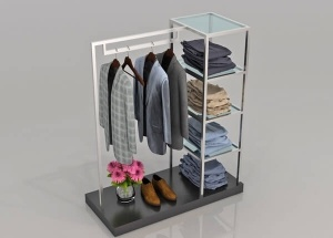 clothing display shelves and gondola racks with 4 shelves