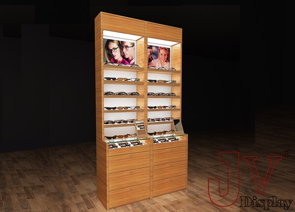 Eyewear Display Cabinets Optical Wall Units Wood Shelves