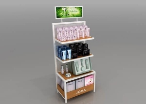 custom product display stands for exhibitions cosmetic shops