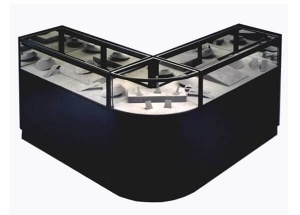 jewelry display cases l shape