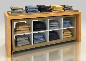 man's clothing store fixtures and display cabinet