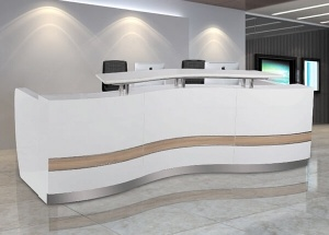 white curved reception desk furniture custom