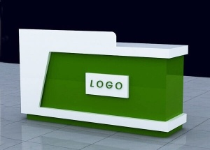 Small reception counter design white and green