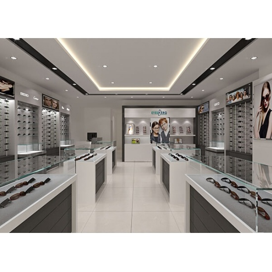 latest optical showroom design with display furniture for sale